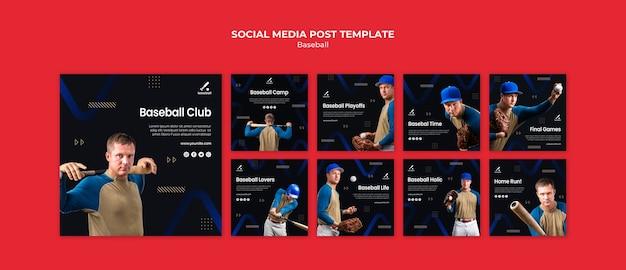 Coleção de postagens do instagram de beisebol