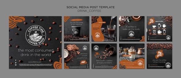 Coleção de postagens do instagram de café