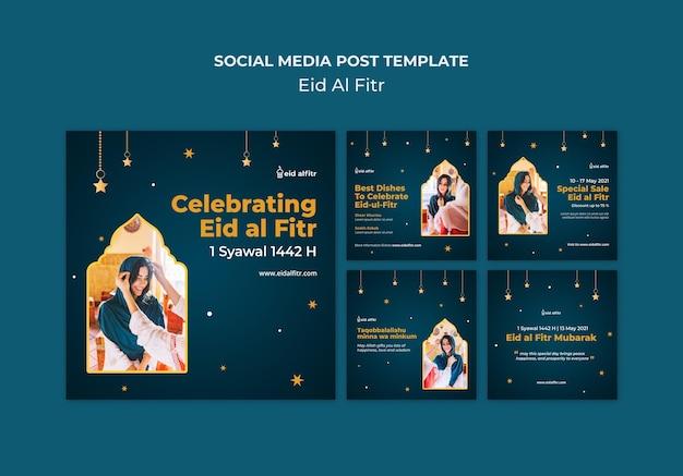 Coleção de postagens do instagram de eid al-fitr