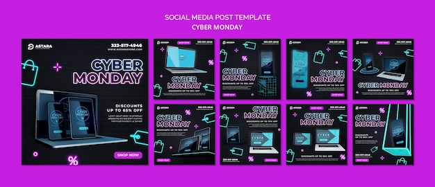 Coleção de postagens do instagram de néon cyber segunda-feira