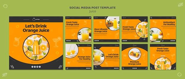 Coleção de postagens do instagram de suco de laranja