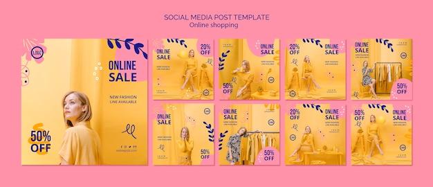 Coleção de postagens do instagram de venda online