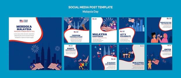Coleção de postagens do instagram para a celebração do aniversário do dia da malásia
