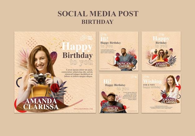 Coleção de postagens do instagram para a celebração do aniversário