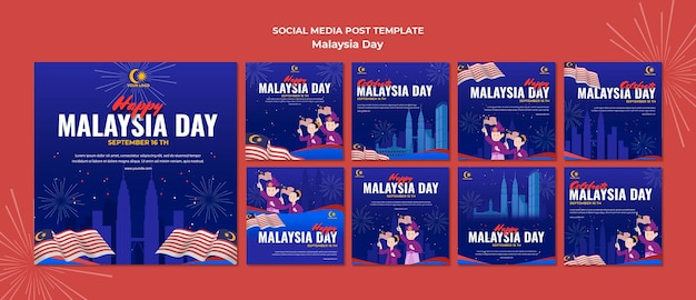 Coleção de postagens do instagram para a celebração do dia da malásia
