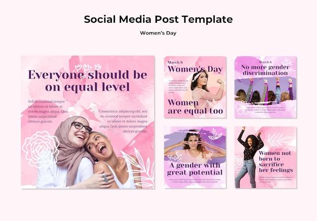 Coleção de postagens do instagram para a celebração do dia da mulher