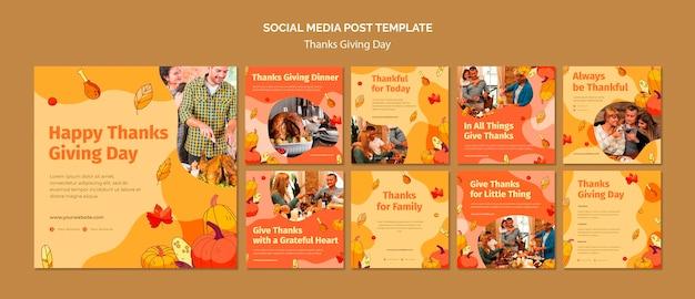 Coleção de postagens do instagram para a celebração do dia de ação de graças