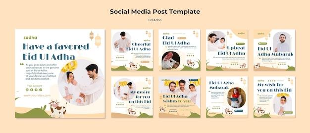 Coleção de postagens do instagram para a celebração do eid al-adha
