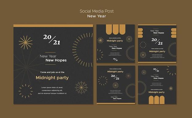 Coleção de postagens do instagram para a festa da meia-noite de ano novo