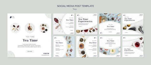 Coleção de postagens do instagram para a hora do chá