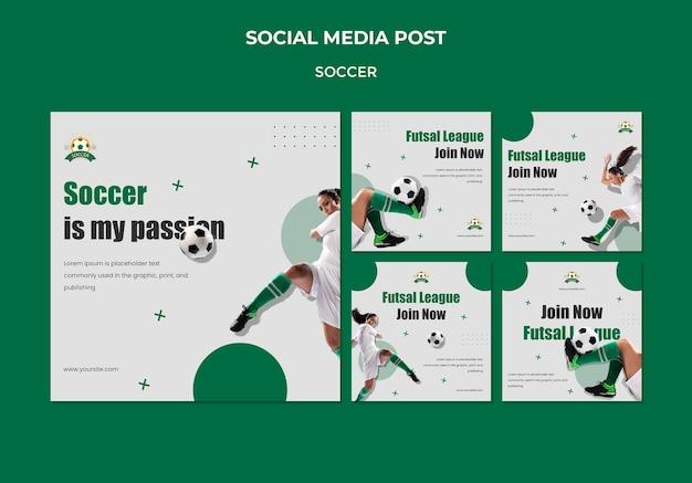 Coleção de postagens do instagram para a liga de futebol feminino