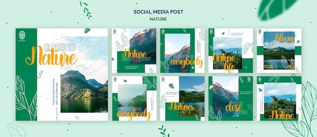 Coleção de postagens do instagram para a natureza com paisagens de vida selvagem