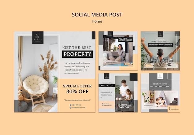 Coleção de postagens do instagram para a nova casa dos sonhos