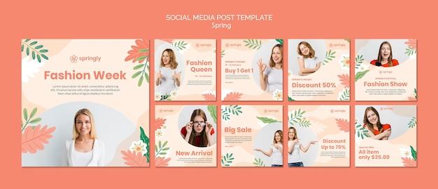 Coleção de postagens do instagram para a semana de moda da primavera