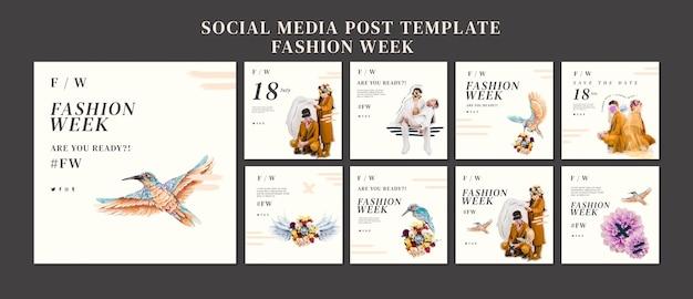 Coleção de postagens do instagram para a semana de moda