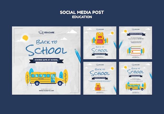Coleção de postagens do instagram para a volta às aulas