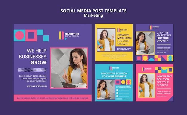 Coleção de postagens do instagram para agência de marketing criativo
