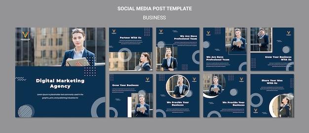 Coleção de postagens do instagram para agência de marketing digital