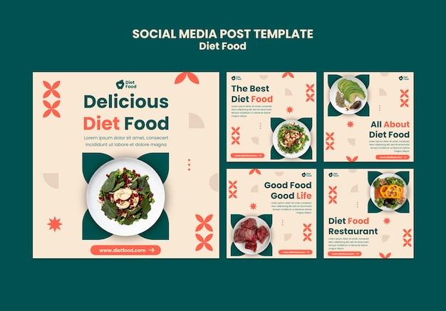 Coleção de postagens do instagram para alimentos dietéticos