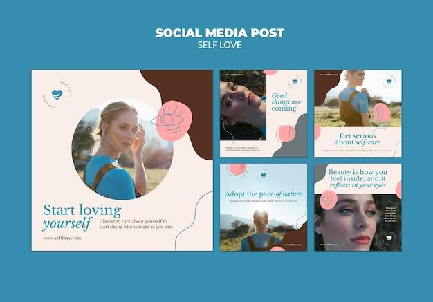 Coleção de postagens do instagram para amor próprio e aceitação