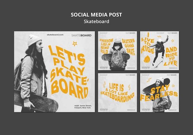 Coleção de postagens do instagram para andar de skate com mulher
