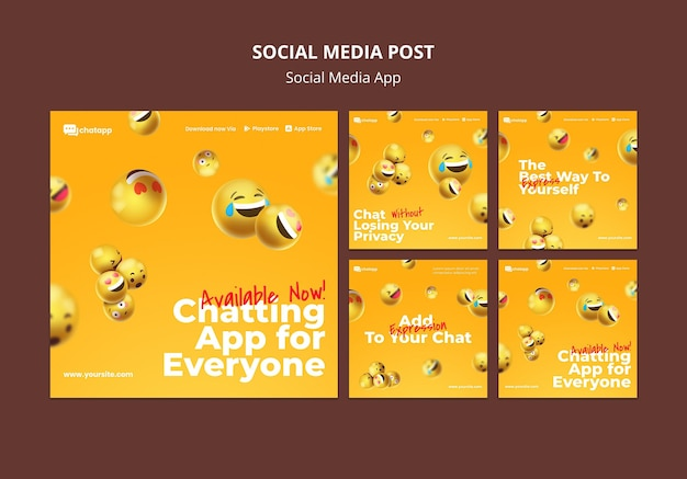 Coleção de postagens do instagram para aplicativo de bate-papo de mídia social com emojis