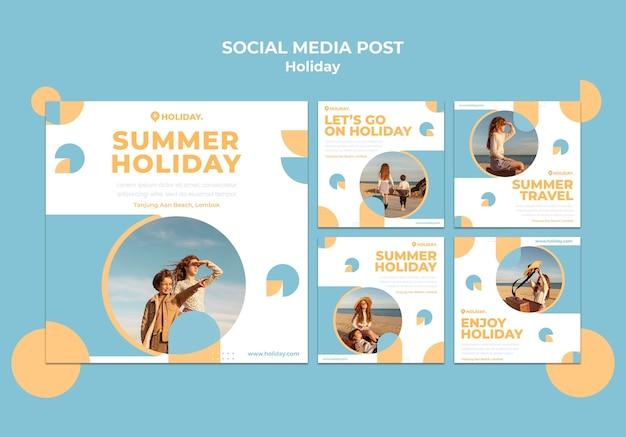 Coleção de postagens do instagram para as férias de verão