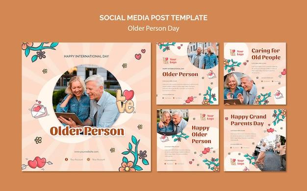 Coleção de postagens do instagram para assistência e cuidados a idosos
