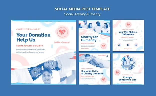Coleção de postagens do instagram para atividades sociais e caridade