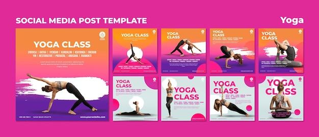 Coleção de postagens do instagram para aula de ioga com mulher