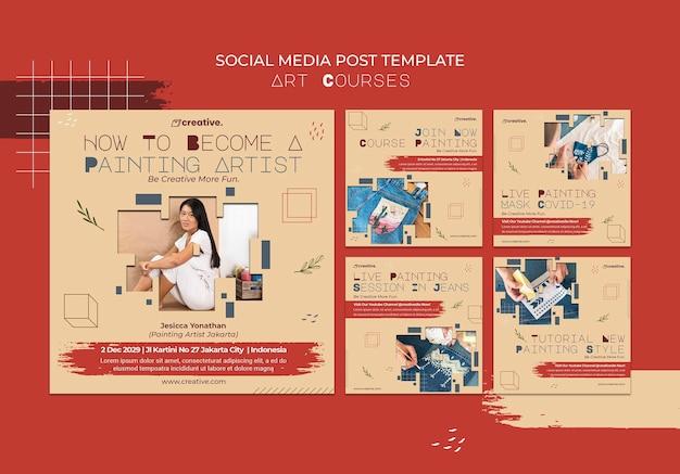 Coleção de postagens do instagram para aulas de pintura