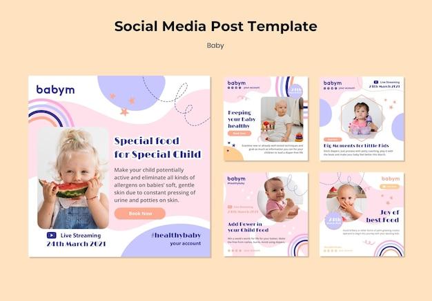 Coleção de postagens do instagram para bebês recém-nascidos