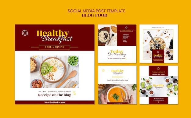 Coleção de postagens do instagram para blog de receitas de comida saudável