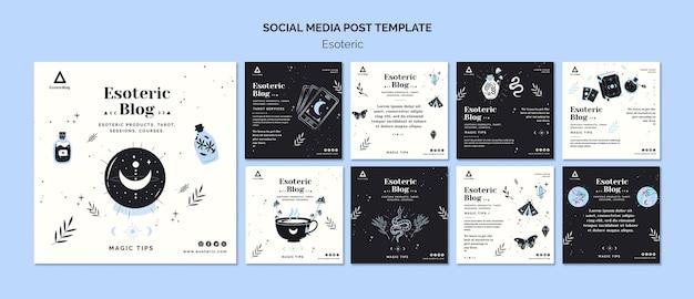 Coleção de postagens do instagram para blog esotérico Psd Premium