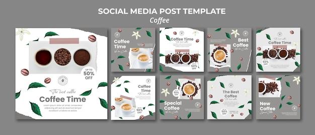 Coleção de postagens do instagram para café