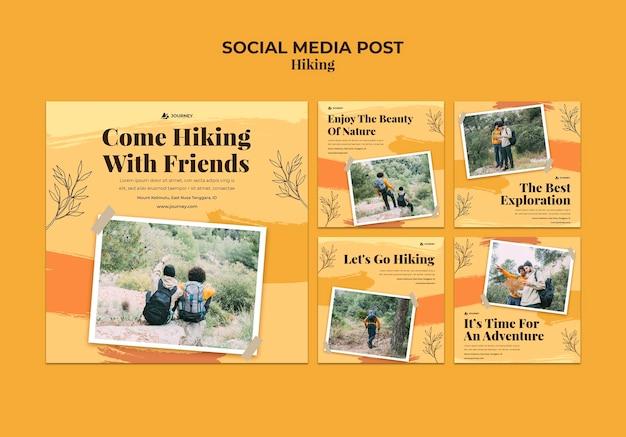 Coleção de postagens do instagram para caminhadas