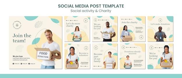 Coleção de postagens do instagram para caridade e doação