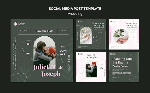 Coleção de postagens do instagram para casamento
