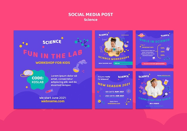 Coleção de postagens do instagram para ciência infantil