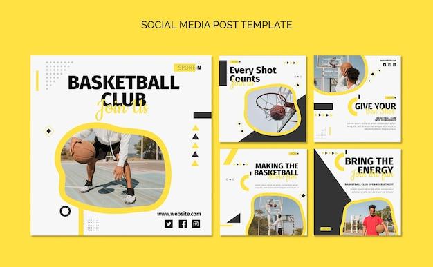 Coleção de postagens do instagram para clube de basquete
