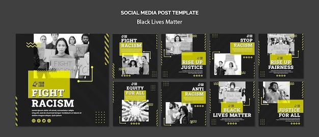 Coleção de postagens do instagram para combater o racismo
