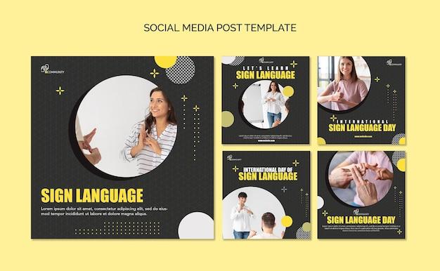 Coleção de postagens do instagram para comunicação em linguagem de sinais