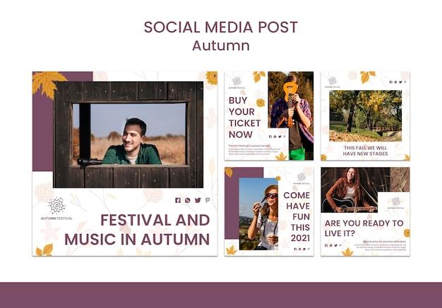 Coleção de postagens do instagram para concerto de outono