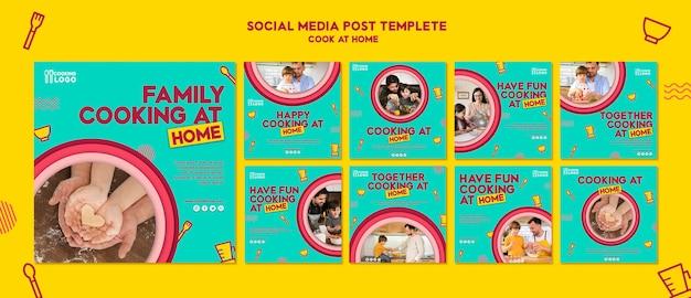 Coleção de postagens do instagram para cozinhar em casa