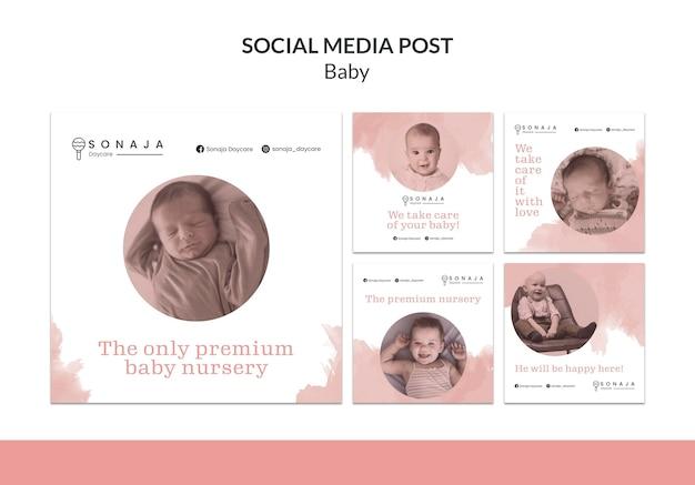 Coleção de postagens do instagram para creches infantis