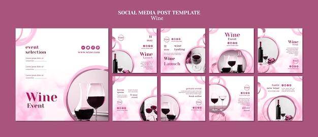 Coleção de postagens do instagram para degustação de vinhos