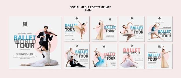 Coleção de postagens do instagram para desempenho de balé