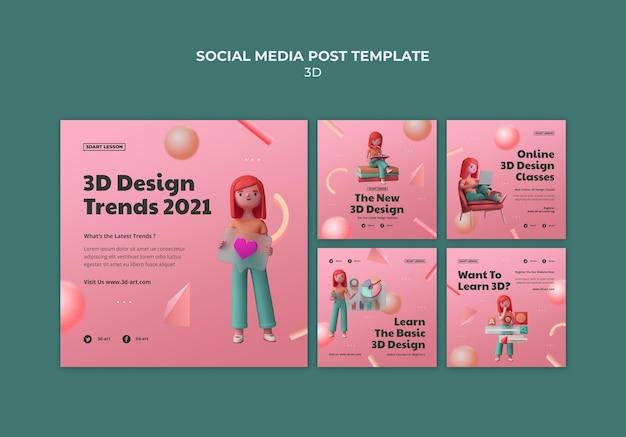 Coleção de postagens do instagram para design 3d com mulher