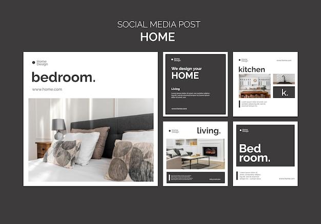 Coleção de postagens do instagram para design de interiores com móveis