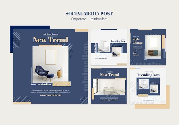 Coleção de postagens do instagram para design de interiores